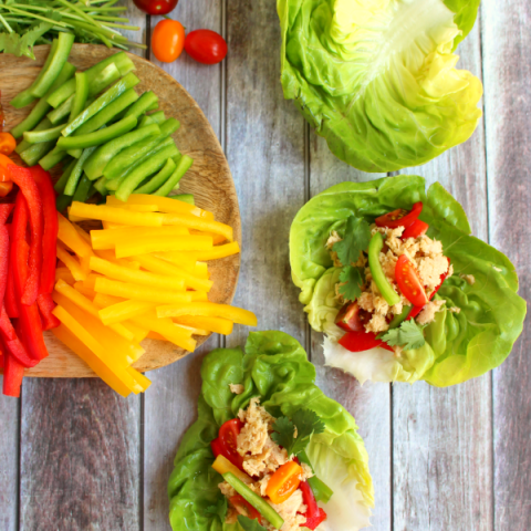 Lettuce wraps brought to a whole new delicious level! Jalapeno infused tuna is paired with crunchy peppers, fresh cilantro and juicy tomatoes for a healthy, easy & delicious lunch!