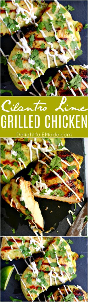 Fire up the grill, its time for some amazing cilantro lime chicken!  Chicken breasts are marinated with cilantro, lime juice and a spicy habanero chili sauce, this verde grilled chicken recipe will bring the heat.
