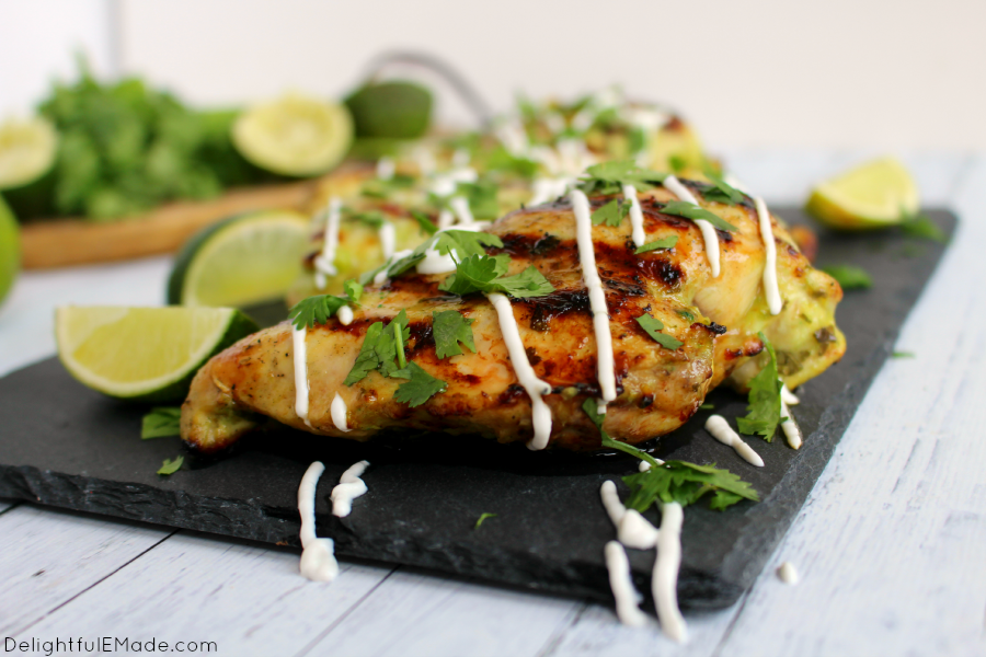 Fire up the grill, its time for some amazing cilantro lime chicken!  Marinated with cilantro, lime juice and a spicy habanero chili sauce, this verde grilled chicken recipe will bring the heat.