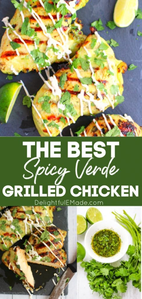 Spicy verde grilled chicken on black cutting board, topped with chopped cilantro and lime wedges.