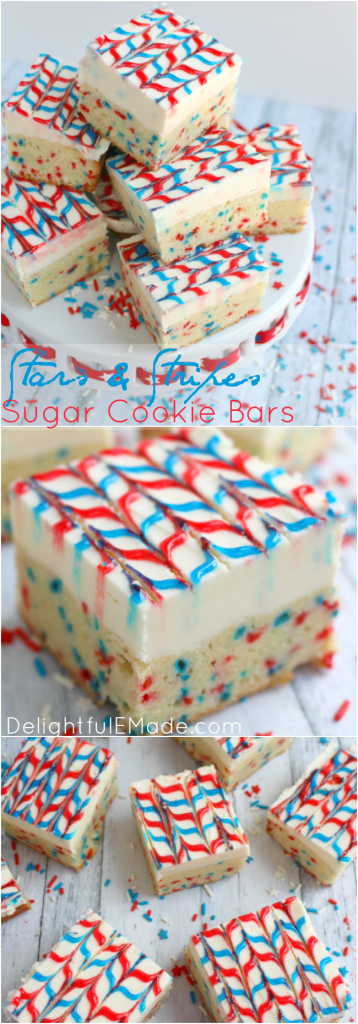 Lets celebrate America with these yummy, patriotic sugar cookie bars! The best sugar cookie recipe made into a bar, frosted with lots of delicious buttercream, and decorated with simple store-bought gel frosting, these cookie bars will be the hit of your July 4th picnic this summer!