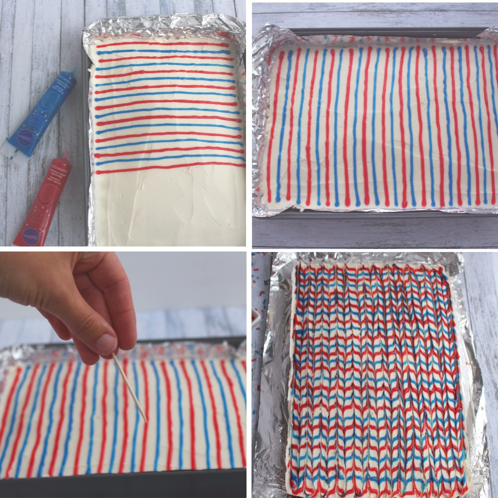 Photo collage of using red and blue gel decorating frosting and creating a herringbone stripe on the sugar cookie bars