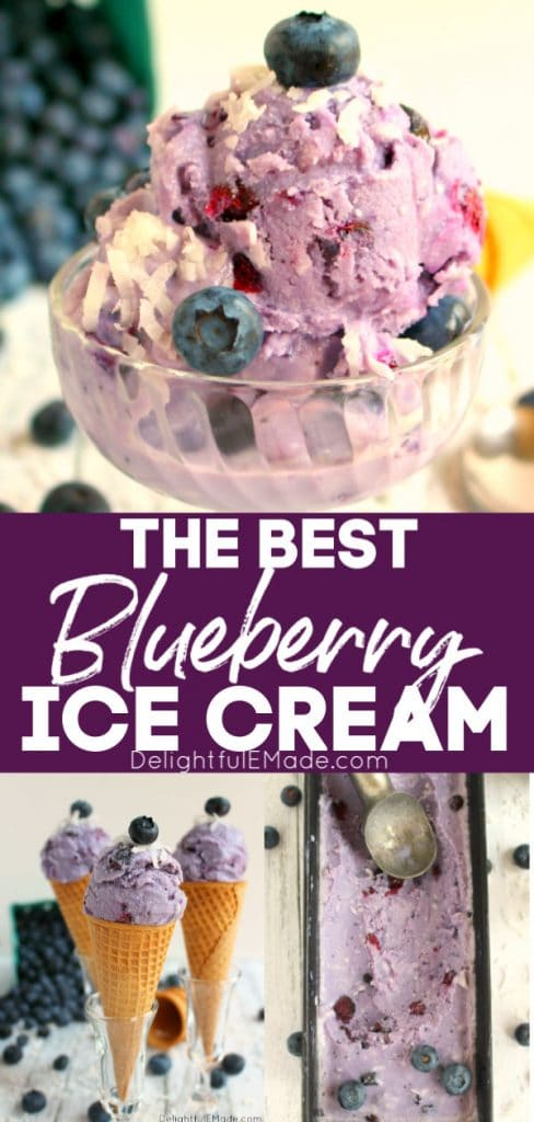 Blueberry ice cream in a dish, topped with coconut flakes and fresh blueberries, scooped in cones, and frozen in a pan.