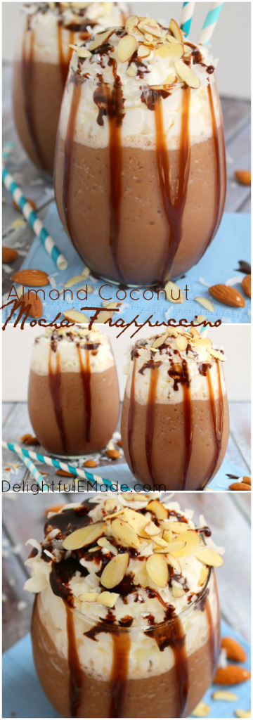 If you like coconut, almonds and chocolate, you'll love this Almond Coconut Mocha Frappuccino! This delicious frozen frappuccino drink has amazing flavor perfect for waking you up and getting you going! Your morning coffee will never be the same!