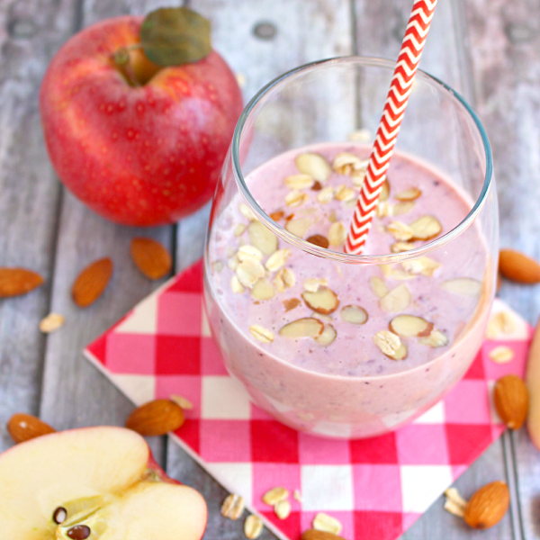 Get your day off to a great start with this delicious Apple Cherry & Almond Breakfast Smoothie!  Made with fresh, delicious apples, cherries, almonds, oatmeal and Chobani Greek Yogurt, this smoothie is nutritious, delicious and will keep you full until lunchtime!