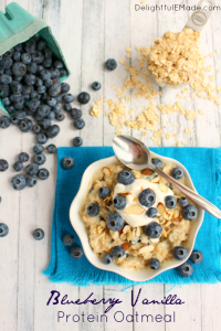 A healthy, easy and delicious way to start your day! Creamy, delicious vanilla oatmeal mixed with plump, fresh blueberries make for a breakfast that's loaded with protein and fiber keeping you full all the way to lunchtime!