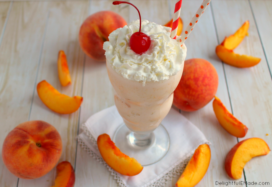 Love Chick-fil-A Peach Milkshakes?  My Copycat Chick-fil-A Peach Milkshake has delicious chunks of fresh peaches, and creamy vanilla ice cream blended together for the most amazing shake right at home!
