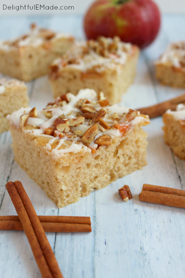 Fresh apples baked in a moist, delicious cake and topped with pecans and an amazing glaze, this snack cake is amazing! Perfect for an after-school snack, lunch box treat or a delicious dessert any day of the week!
