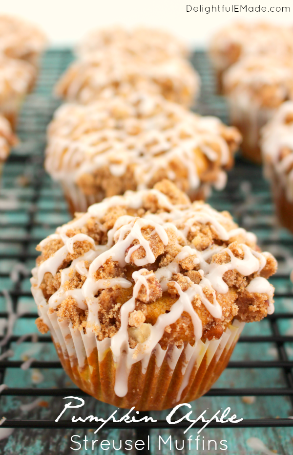 Pumpkin Apple Streusel Muffins - Delightful E Made
