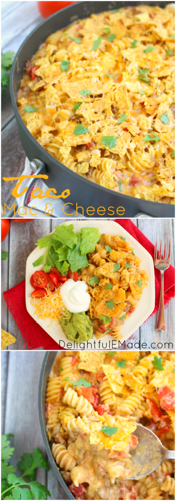 Need an easy, delicious dinner idea that everyone will love?  Try my Taco Mac and Cheese!  Loaded with two types of cheese, pasta, tomatoes, seasoned beef and topped with tortilla chips and more cheese, this will be a new family favorite!