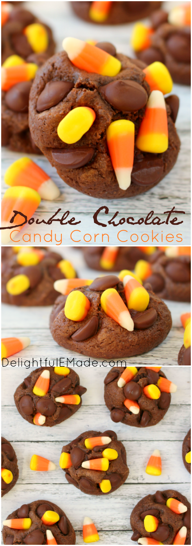 Double Chocolate Candy Corn Cookies - Delightful E Made