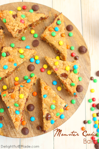 If you like the classic cookie, you'll LOVE these Monster Cookie Bars! Loaded with all your cookie favorites - chocolate chips, M&M's, peanut butter chips, these bars are super-moist, chewy and completely delicious!