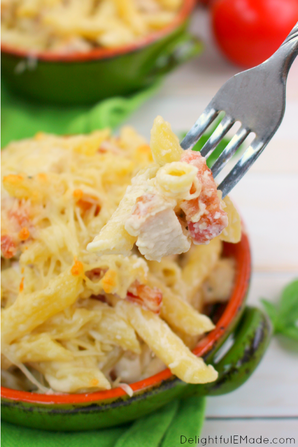 A quick, easy & delicious pasta dish everyone will love! Perfect as a fast, weeknight meal this Penne Chicken Alfredo with Bacon is made with Barilla Pronto Pasta and Tyson Grilled & Ready Chicken Strips, taking the extra prep work out of cooking, and giving you extra time with your family at the table!