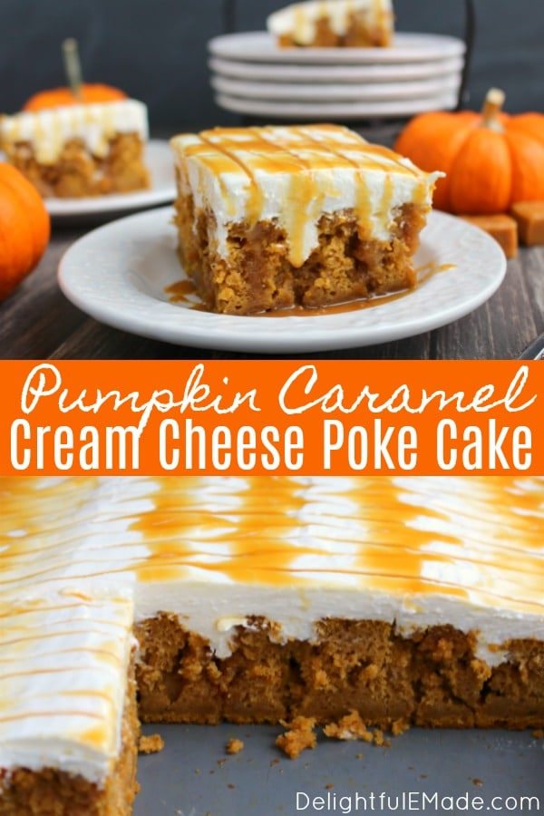 This pumpkin poke cake is drizzled with caramel sauce, frosted with a fluffy cream cheese frosting and topped with even more caramel sauce!  You'll love every single morsel of this uber moist, delicious pumpkin cake!
