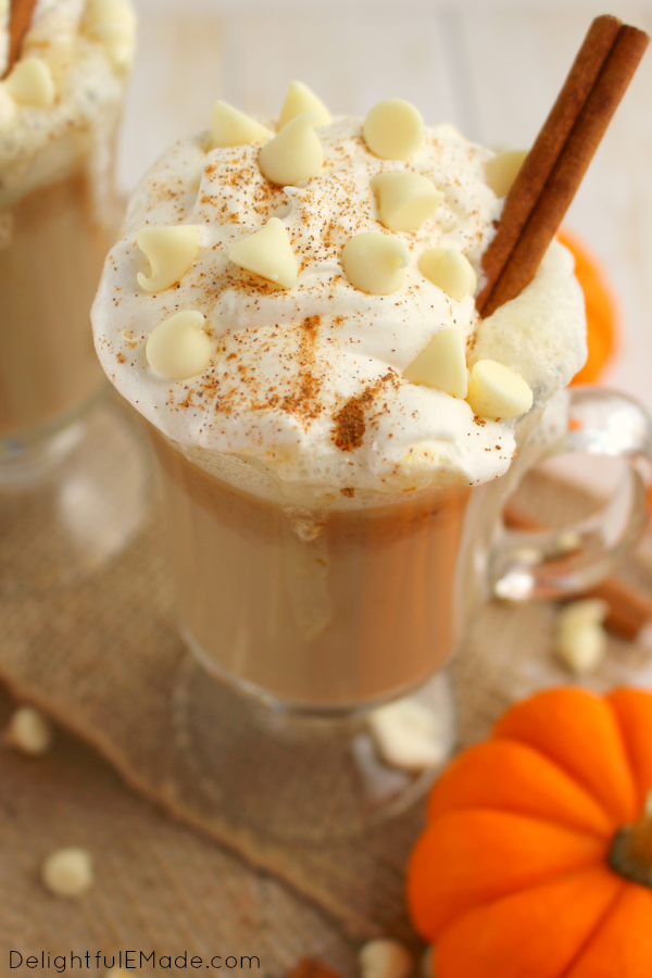 If you like the classic PSL, you're gonna adore this White Chocolate Pumpkin Spice Latte version of the must-have fall drink!  Made with just a few simple ingredients, this wonderful hot coffee drink will be your new autumn favorite.  No espresso machine necessary!