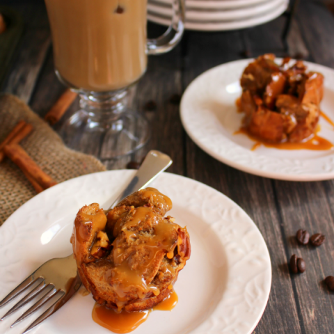 Caramel Macchiato French Toast Cups | If you love the classic coffee drink, you've gotta try my Caramel Macchiato French Toast Cups! Super easy to make using just a few simple ingredients, baked to perfect, and topped with a delicious caramel sauce! The perfect breakfast treat!