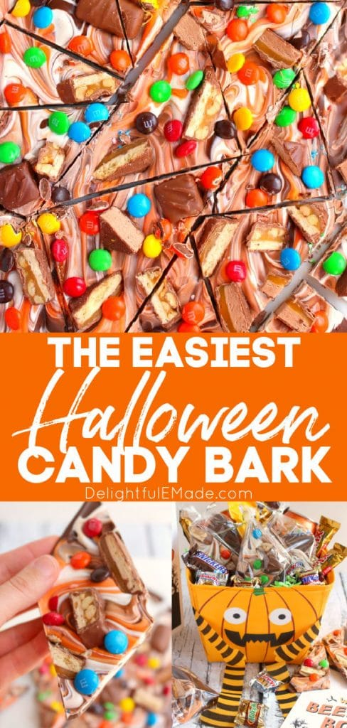 Halloween candy swirled together with chocolate, white chocolate and then broken into pieces.