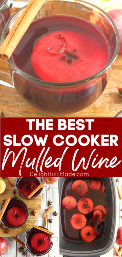 Slow Cooker Mulled wine, in a mug and in slow cooker.