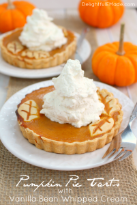 The perfect Thanksgiving or Christmas dessert! These easy tarts are just like pumpkin pie, but when made in individual tart pans, they become the most beautiful dessert for your holiday meal! Topped with delicious vanilla bean whipped cream, your guests will be dazzled!
