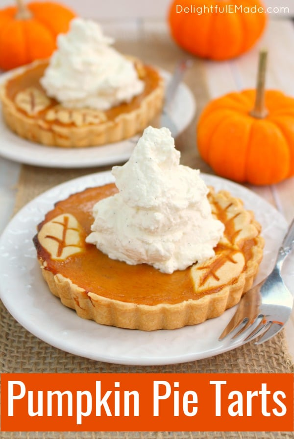 These easy Pumpkin Pie Tarts are just like classic pumpkin pie, but when made in small tart pans, they become the most beautiful individual pumpkin tarts for your holiday meal!  Topped with delicious vanilla bean whipped cream, your guests will be dazzled!