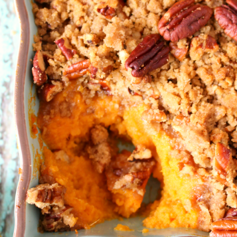 Ruth's Chris restaurants are famous for this amazing Sweet Potato Casserole - now you can make it at home! Creamy, delicious sweet potatoes are topped with a crisp, pecan streusel topping making for an amazing side dish to any holiday meal!