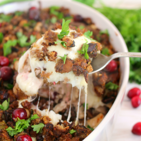 Thanksgiving leftovers made into the most amazing dish! Stuffing, turkey, cranberry sauce, mashed potatoes, and cheese baked into one glorious casserole perfect for enjoying after the big feast!