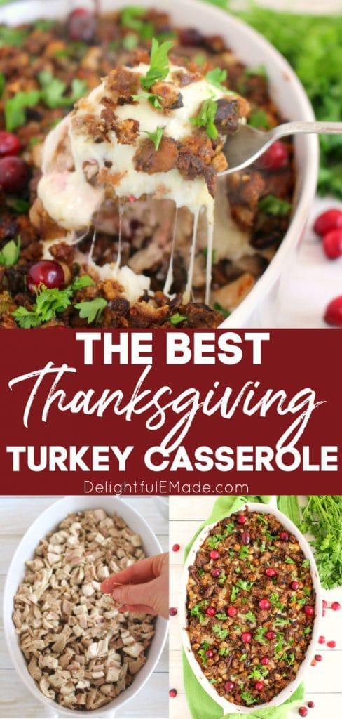 Thanksgiving turkey casserole in baking dish