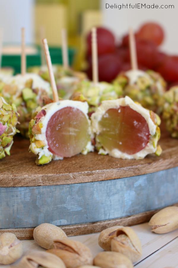 Cheese Grape and Pistachio Truffles