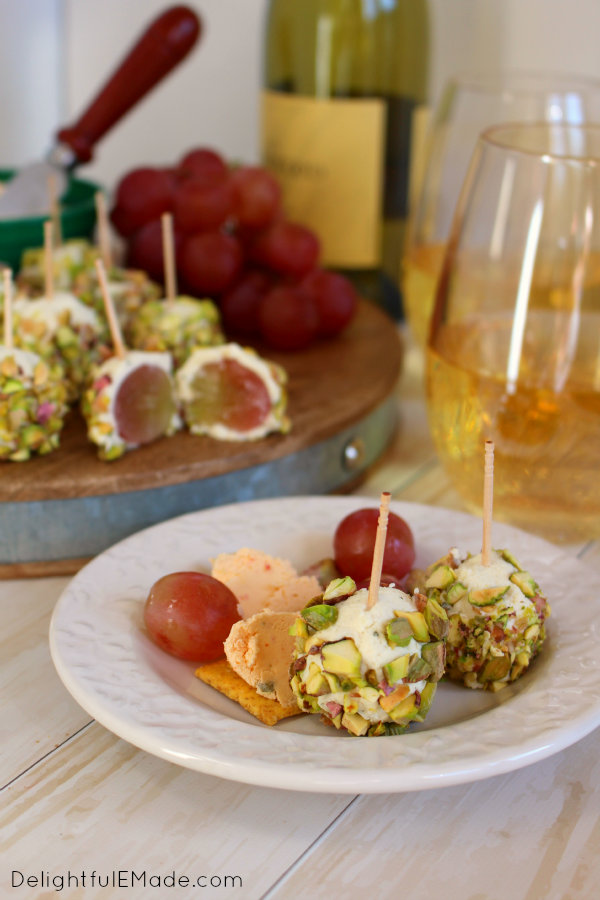 With just three ingredients, these delicious Cheese, Grape and Pistachio Truffles are the perfect appetizer! Wonderful for a holiday party, intimate gathering or wine with the girls, these easy appetizers are sure to please!