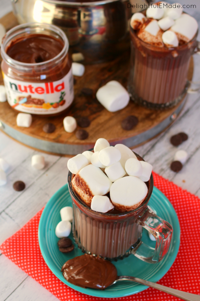 If you love Nutella, this homemade hot chocolate is for you! Made on the stove top in just minutes, this creamy, chocolaty hot drink is perfect for warming up when its cold outside!