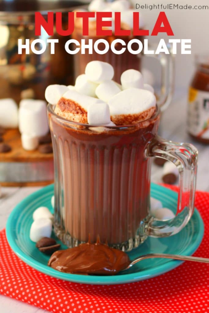 If you love Nutella, this homemade hot chocolate is for you!  Made on the stove top in just minutes, this creamy, Nutella Hot Chocolate recipe is perfect for warming up when its cold outside!