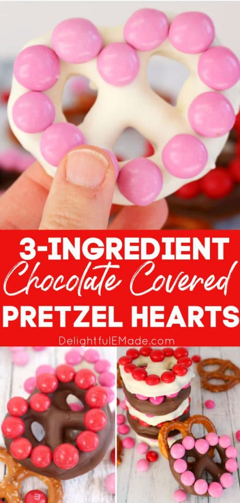Chocolate covered pretzel hearts topped with M&M's.