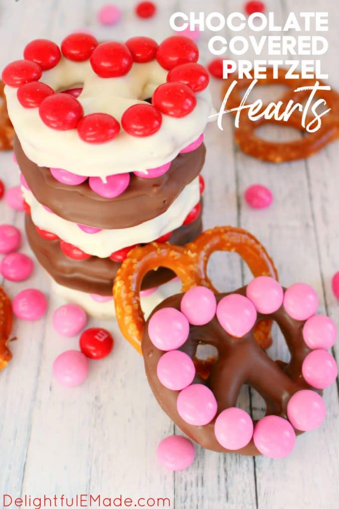 Chocolate covered pretzel hearts topped with red and pink M&M's.