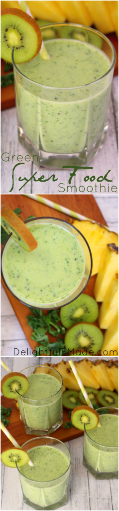 Loaded with protein, fresh fruit, kale and tons of flavor, this Green Super Food Smoothie is the perfect way to start the day! Perfect for breakfast or great to refuel after a workout, this uber healthy drink is the perfect way to add healthy food to your diet! Gluten free, too!