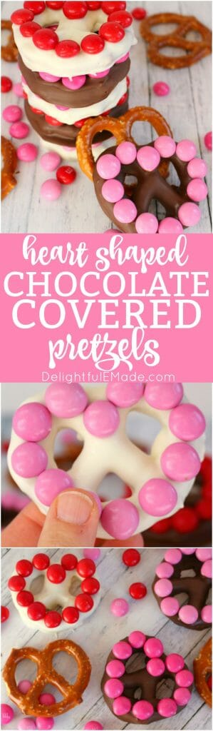 The ultimate salty-sweet treat for your Valentines!  These simple, homemade heart shaped chocolate covered pretzels are easy to make with just a few simple ingredients.  Decorated with M&M's® Strawberry candies, these jumbo pretzels make for the sweetest surprise for your sweethearts!