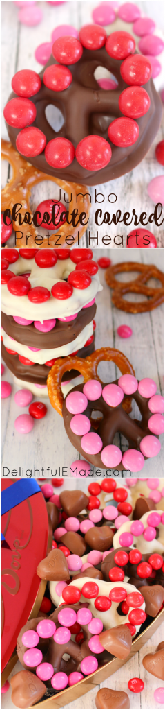 The ultimate sweet treat for your Valentine's! These delcious homemade chocolate covered pretzels are easy to make, using just THREE ingredients! Decorated with M&M's® Strawberry candies, these jumbo pretzels make for the sweetest surprise for your sweethearts!