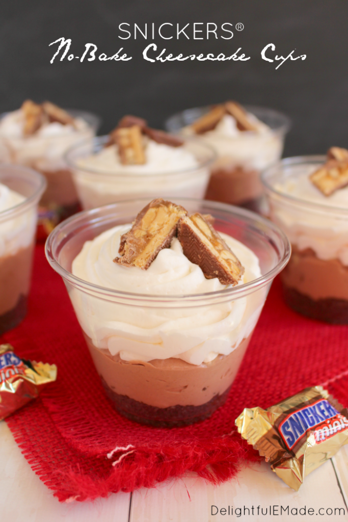 Everything you love in the classic SNICKERS® candy bar made into a delicious no-bake dessert! These easy cheesecake cups are perfect for parties, especially home-gating, tailgating and perfect for watching the big game!