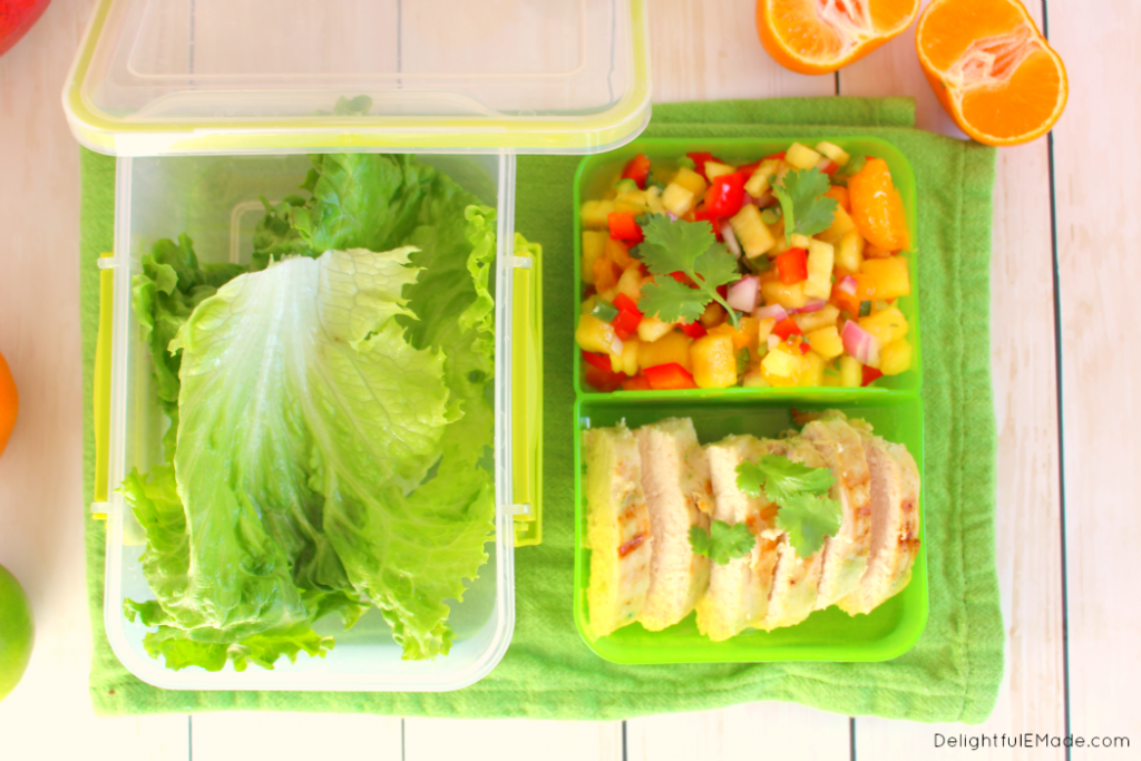 Do you pack your lunch for work? Bring these amazingly healthy, delicious Spicy Chicken Lettuce Wraps! The flavorful Pineapple Mango Salsa along with the spicy verde chicken make for a tasty, healthy, and filling meal! Low carb, gluten free and only 5 Weight Watchers Smart Points!