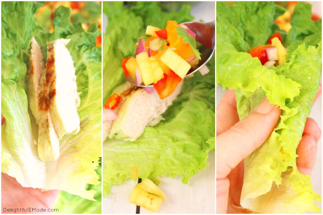 Spicy Chicken Lettuce Wraps with Pineapple Mango Salsa - Delightful E ...
