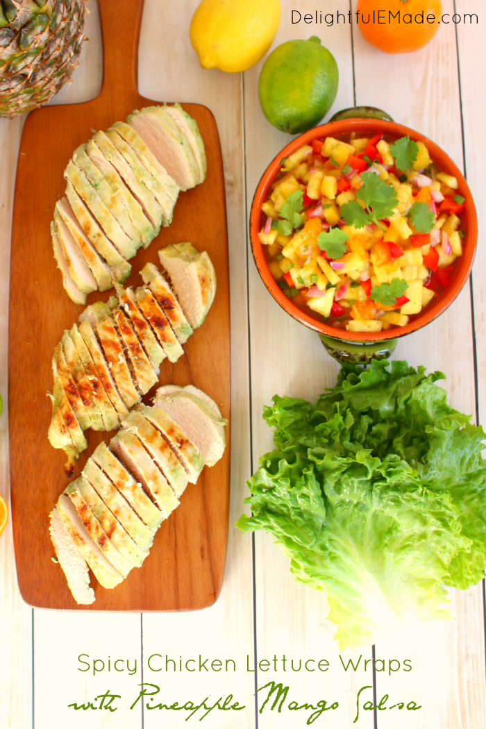 Spicy Chicken Lettuce Wraps With Pineapple Mango Salsa Delightful
