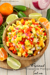 Fresh, healthy flavors of of the tropics are paired with peppers and onions for the most amazing sweet, crunchy salsa! Perfect for topping fish or chicken, and great for eating with chips! 0 Weight Watchers Smart Points!