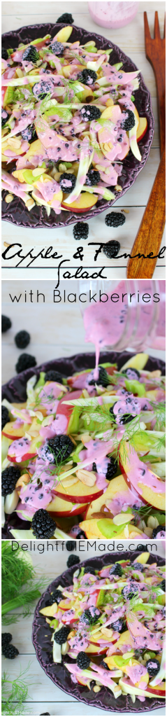 Fresh, crisp apples and fennel are paired with blackberries, celery and toasted almonds to make this delicious salad.  Topped with a creamy blackberry vinaigrette, this delicious side dish comes together in just minutes!  Perfect paired with chicken or salmon and also makes a wonderful holiday side!