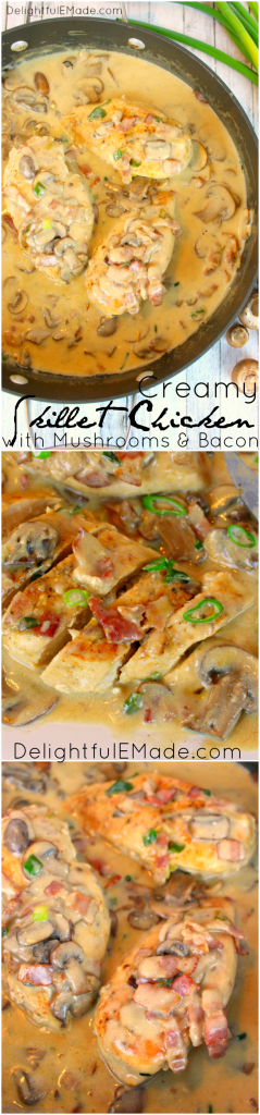 An amazing way to prepare chicken breasts, this Creamy Skillet Chicken with Mushrooms and Bacon is the ultimate dinner solution any night of the week. This fantastic chicken dish is simple enough for a weeknight meal, or perfect for company on the weekend!