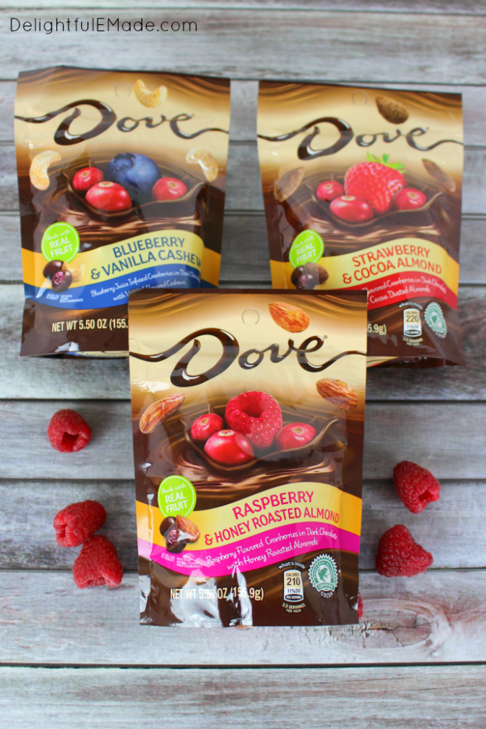 Raspberries, almonds and chocolate come together for the most amazing sweet treat! Sweet, creamy chocolate pudding is topped with DOVE® Dark Chocolate Raspberry & Honey Roasted Almonds, making an incredible treat for any chocolate and raspberry lover!