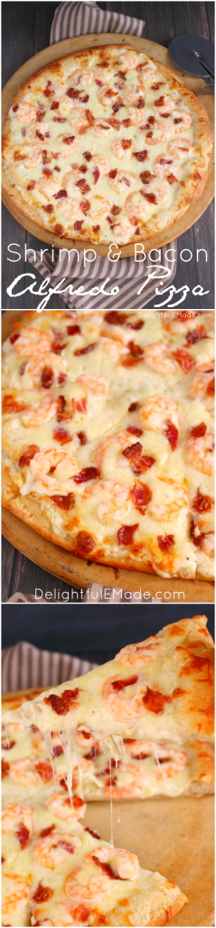 The ultimate pizza for Alfredo lovers! Loaded with tender shrimp, crisp bacon and lots of cheese, this pizza is the perfect way to enjoy all your favorite flavors one delicious slice!