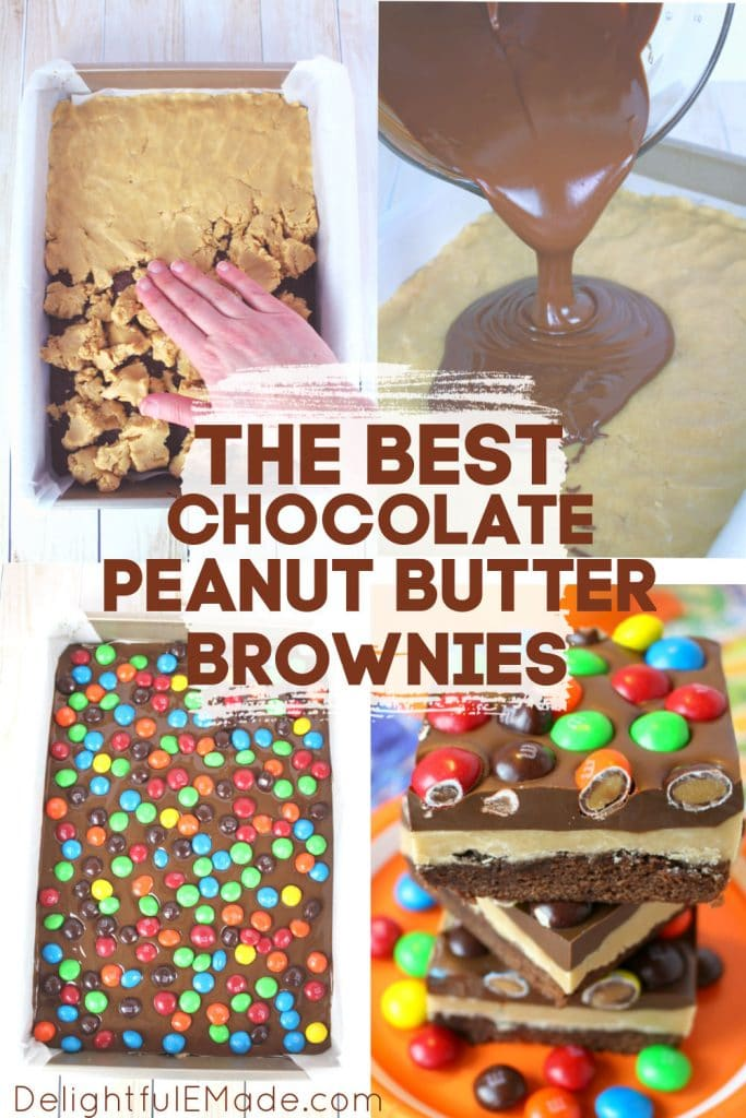 How to make chocolate peanut butter brownies. Step by step photos for buckeye brownies.