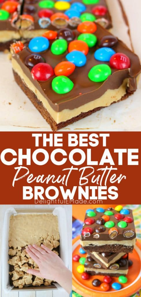 Chocolate peanut butter brownies topped with m&m's. Stacked peanut butter brownie bars.