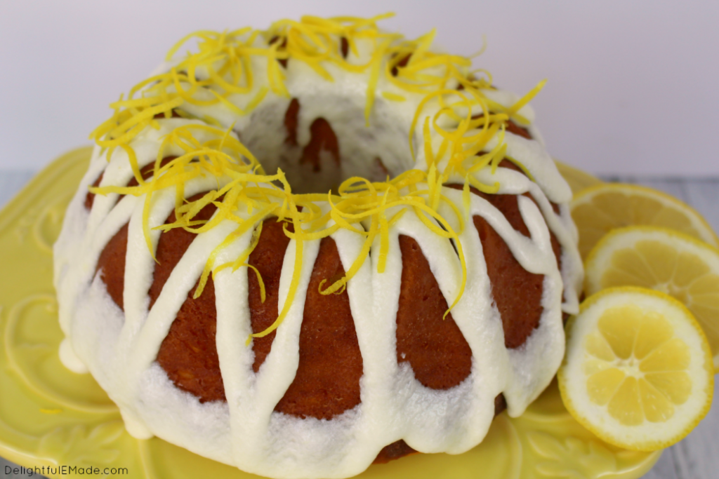 The ultimate lemon dessert!  This super moist Lemon Bundt Cake is perfect for just about any occasion!  Wonderful as a dessert or great as a sweet Brunch treat.  Top with whipped cream or serve with berries for an amazing slice of cake.