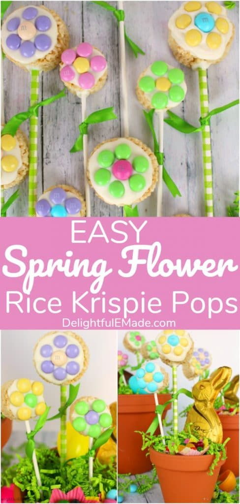 These colorful and fun Rice Krispie Flower Pops are the perfect spring treat.  Made out of simple cereal treats, and decorated with white chocolate, and M&M's® candies, these Easter Rice Krispie Pops make the perfect homemade Easter basket treats!
