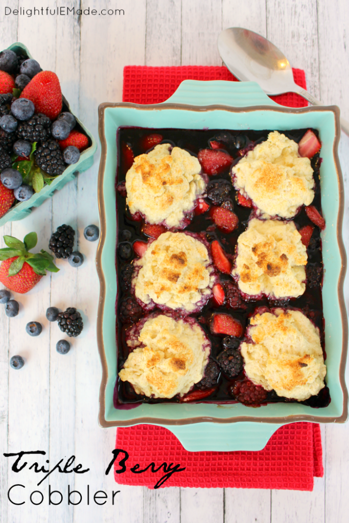 Fresh berries topped with sweet, delicious scones and baked to perfection!  A super easy dessert great for enjoying strawberries, blackberries and blueberries - serve with vanilla bean ice cream for the most amazing, yet simple, dessert!